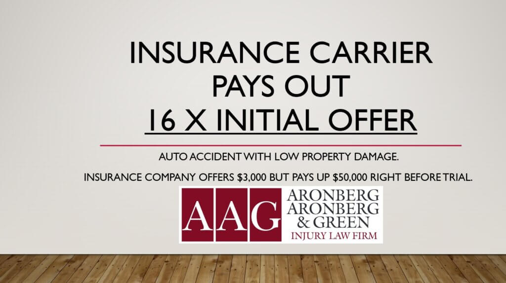 INSURANCE COMPANY INCREASES OFFER BY 16 TIMES BEFORE TRIAL